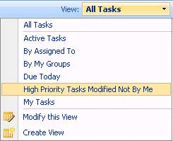 Drop-down selection of High Priority List View