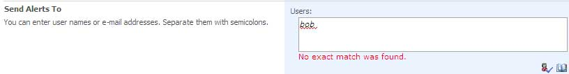 Enter users or groups for Alert Textbox no match found error message