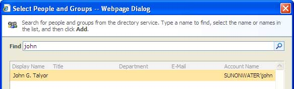 Select People and Groups Webpage Dialog